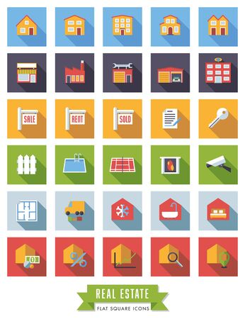 real tennis: Collection of real estate flat design long shadow icons in colored squares Illustration