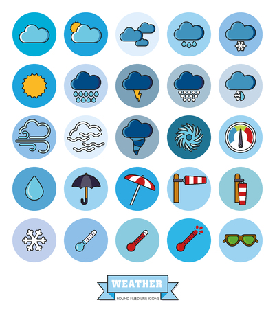 heatwave: Collection of weather and climate related filled line vector icons in blue circles