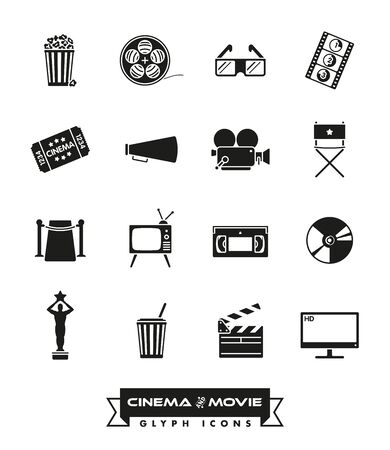 cordon: Collection of 16 cinema and movie related vector icons
