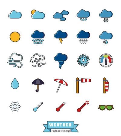 doldrums: Collection of weather and climate related filled line vector icons Illustration