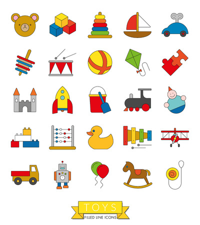 fill: Set of 25 childrens toys icons, thin line with color fill design Illustration