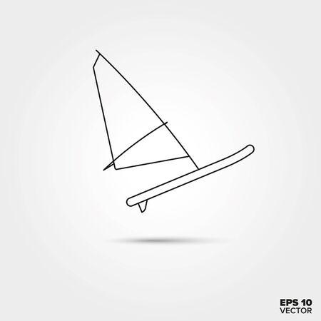 windsurf: Tabla de windsurf l�nea del icono del vector