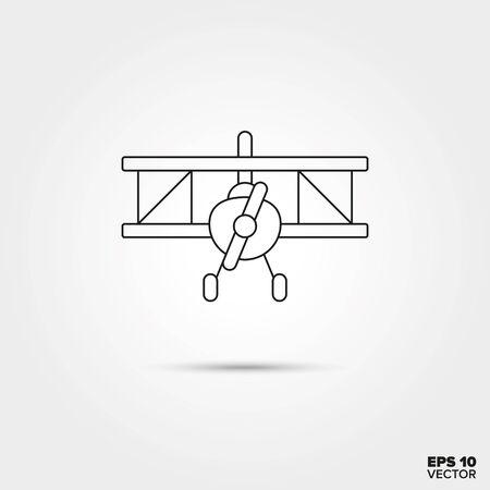 biplane: Biplane Aircraft Toy Line Icon Vector Illustration