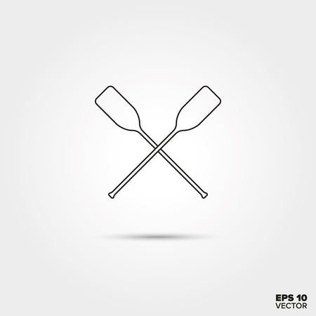 paddles: Crossed Rowing Paddles Line Icon Vector Illustration