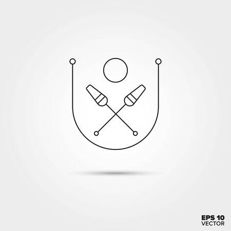 gimnasia ritmica: Gimnasia rítmica Equipos Línea del icono del vector