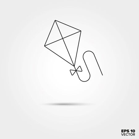 flying kite: Flying kite Line Icon Vector
