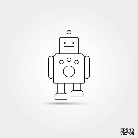 Toy Robot Line Icon Vector