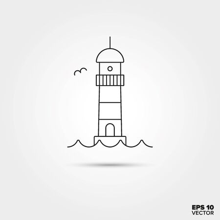 on the lookout: Lighthouse Line Icon Vector