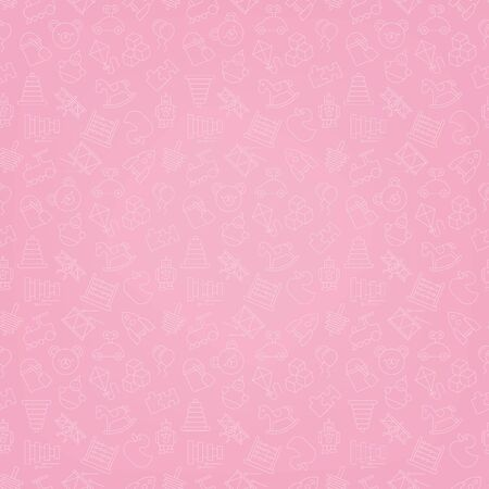 trama de fondo transparente de color rosado de iconos de juguetes Ilustración de vector