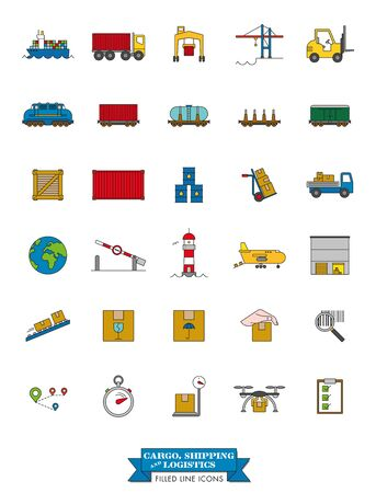 Collection of cargo, shipping, logistics and freight transport line icons with color fill
