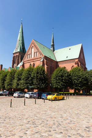 St. John church at the central square of Meldorf. Though it is a protestant church, the 13th century brick-gothic building is oft referred by by to as Meldorfer Dom