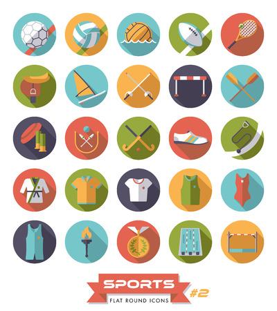 Round sports icons set 2, flat design, long shadow.