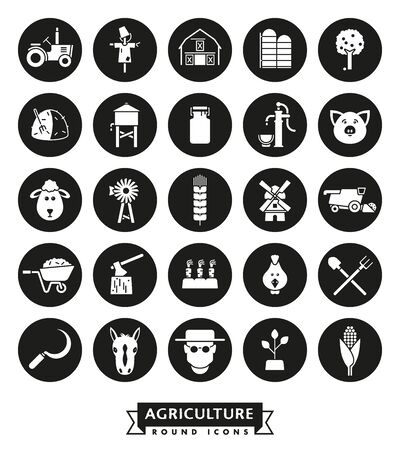 Solid black farming and agriculture vector round icons collection Illustration