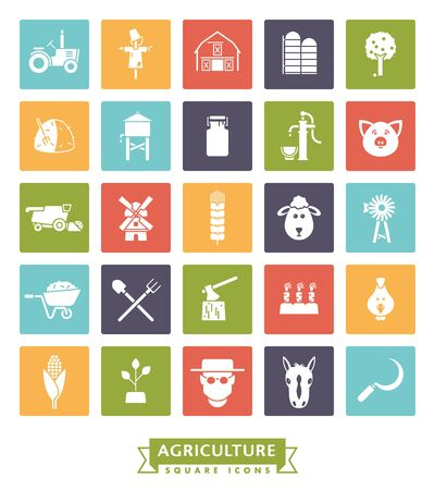 solid color: Solid color farming and agriculture vector square icons collection