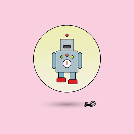 fill: walking toy robot, line icon style with color fill