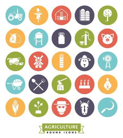 Solid color farming and agriculture vector round icons collection