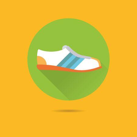 sports shoe: sports  shoe flat design long shadow vector icon