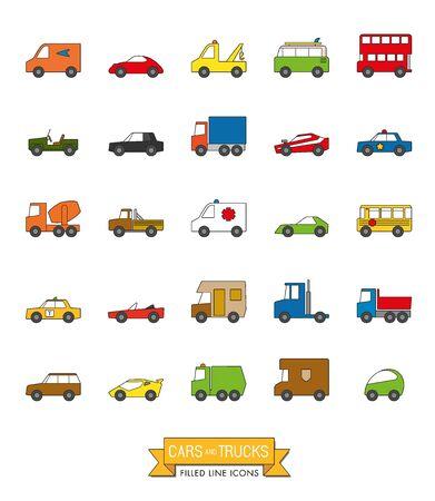 Coches, furgonetas y otros vehículos de motor color de la línea llena de conjunto de iconos