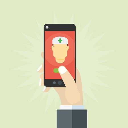 smartphone hand: Mobile health concept, hand holding smartphone calling doctor