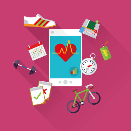 body consciousness: Mobile health concept vector illustration with smartphone