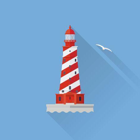 shoal: Flat design long shadow White Shoal lighthouse icon on blue background