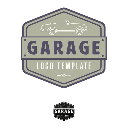 convertible car: Garage template with vintage convertible car, icon Illustration
