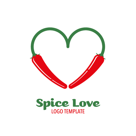 chili pepper: Logo template for food and spice companies, two chili pepper in heart shape Illustration