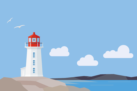 Peggys Cove lighthouse and Nova Scotia landscape, flat design style