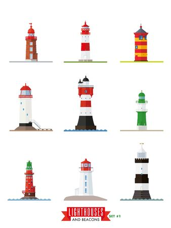 on the lookout: Set 1 of flat design lighthouses and beacons vector icons. Collection. 1