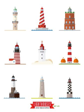 Set 2 of flat design lighthouses and beacons vector icons
