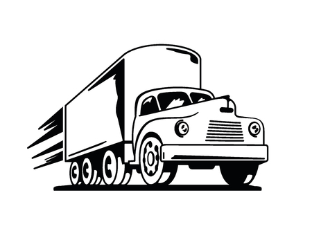 hauling: Perspective drawing of vintage truck with speed streaks Illustration