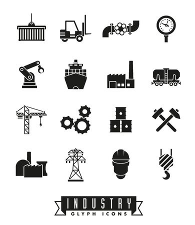 mining ships: Collection of 16 solid black industry themed vector icons