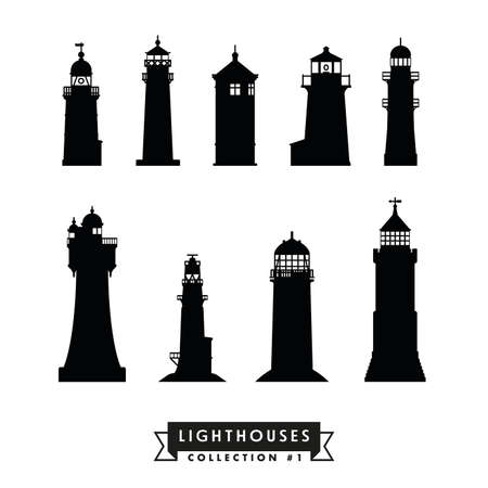 Silhouettes of international lighthouses, set 1