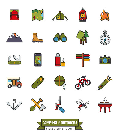 outdoor pursuit: camping, hiking, trekking and outdoor pursuit filled line icon collection