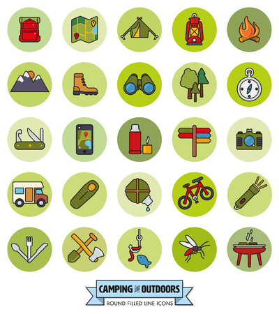 pursuit: camping, hiking, trekking and outdoor pursuit filled line icons in green circles collection Illustration