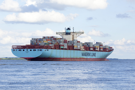 edith: Stade, Germany - August 21, 2016: EDITH MAERSK, one of the worldà ¢ â,¬â ¢ s large largest cargo ships, operated by Danish shipping company Maersk Line, near Hamburg on the Elbe river.
