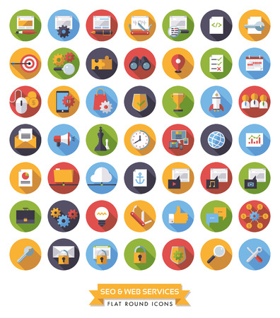 globally: Collection of 49 flat design long shadow SEO and Web Services round icons