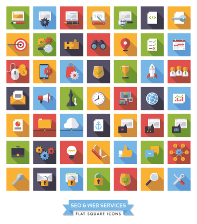 affiliates: Collection of 49 flat design long shadow SEO and Web Services square icons