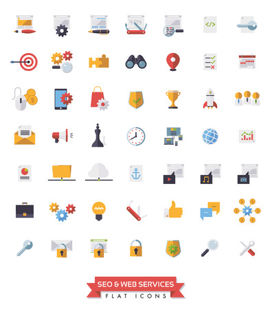 affiliates: Collection of 49 flat design SEO and Web Services icons