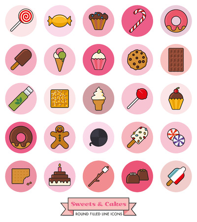 liquorice: Collection of candy, sweets, cookies and cakes filled line icons in pink toned circles Illustration