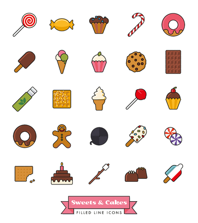 liquorice: Collection of candy, sweets, cookies and cakes filled line icons