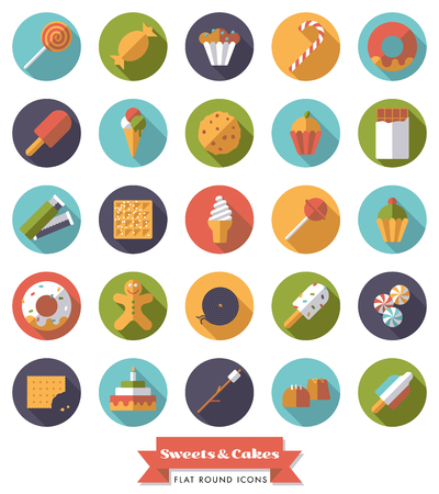liquorice: Collection of candy, sweets, cookies and cakes flat design long shadow round icons Illustration
