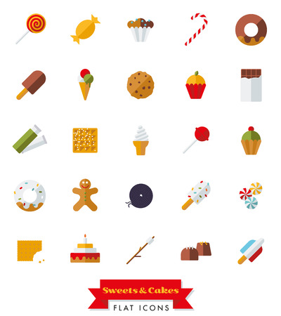 Collection of candy, sweets, cookies and cakes flat design isolated icons Illustration