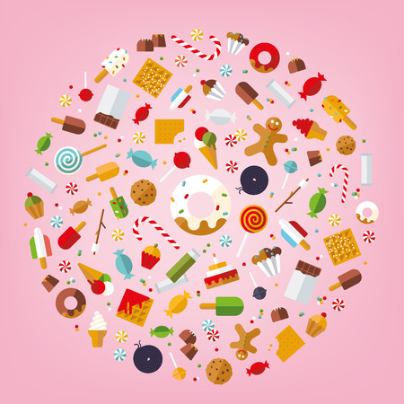 liquorice: Multiple candy, sweets, cookies and cakes icons Arranged in circle on pink background, flat design