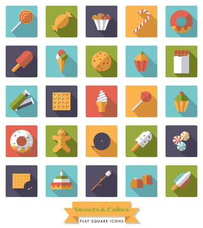 liquorice: Collection of candy, sweets, cookies and cakes flat design long shadow square icons Illustration