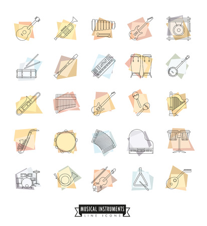 bongos: Collection Of 25 Retro Styled Musical Instruments Line Icons Illustration