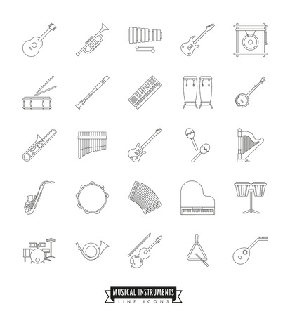triangle musical instrument: Collection Of 25 Musical Instruments Line Icons