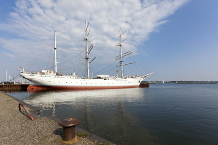 mecklenburg western pomerania: Stralsund, Germany - September 23, 2016: Museum ship GORCH FOCK at the habor of Stralsund, Mecklenburg-Western Pomerania. Gorch Fock I (ex Tovarishch, ex Gorch Fock) is a German three-mast barque built as school ships for the German Reichsmarine in 1933.