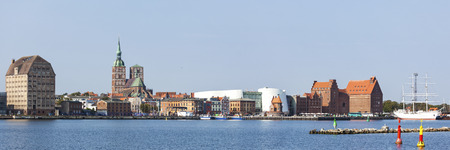 Panoramic view of the harbor of Stralsund, Germany