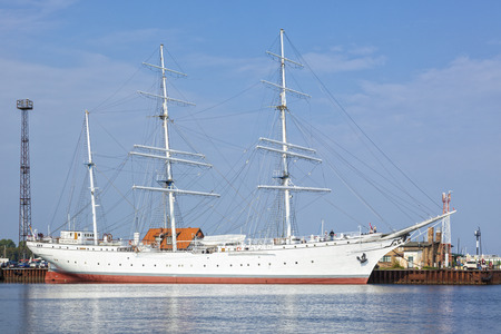 Stralsund, Germany - September 23, 2016: Museum ship Gorch Fock I at the harbor of Stralsund. The three-mast barque was built as school ships for the German Reichsmarine in 1933. Editorial